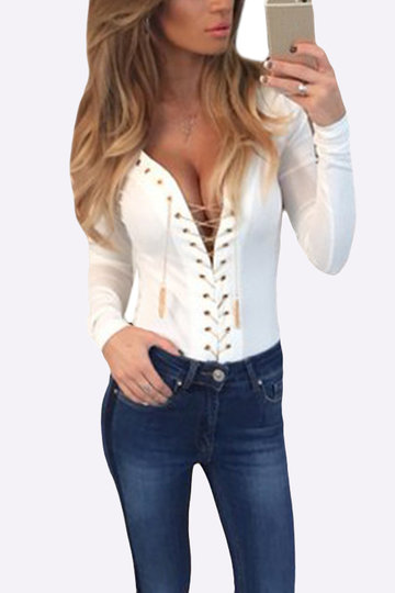Sexy Bodycon See-through Deep V Neck Lace-up Blusa dianteira em branco