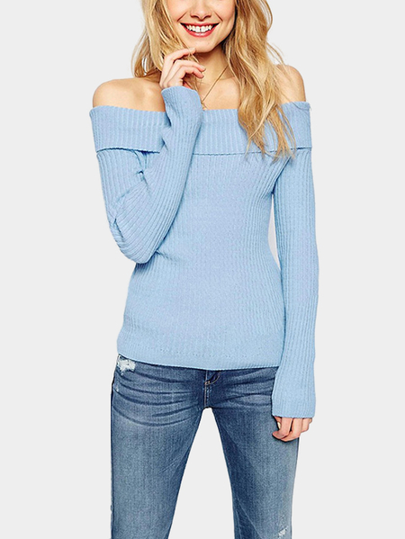Blue Sexy Bodycon Knitted Off Shoulder Sweater