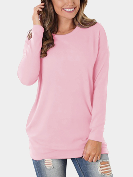 Pink Cozy Round Neck Side Pockets Top