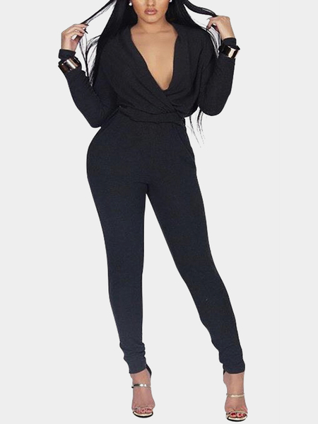 Black Surplice Deep V-neck Long Sleeves High Waits Jumpsuits