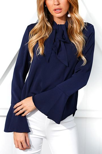 Navy Self-tie Design Bell Sleeves Chiffon Blouse
