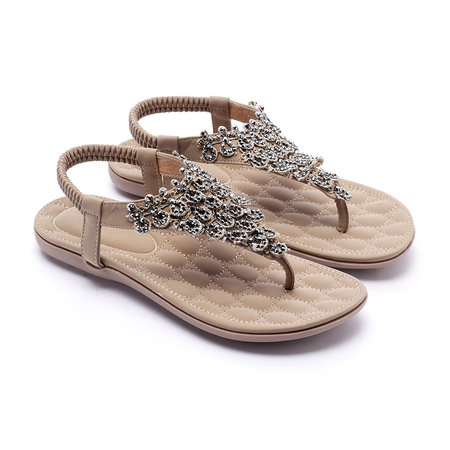 Soft Khaki Jewelry Embellished Flat Sandals
