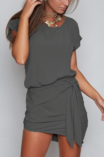Dark Grey Round Neck Self-tie Design Mini Dress