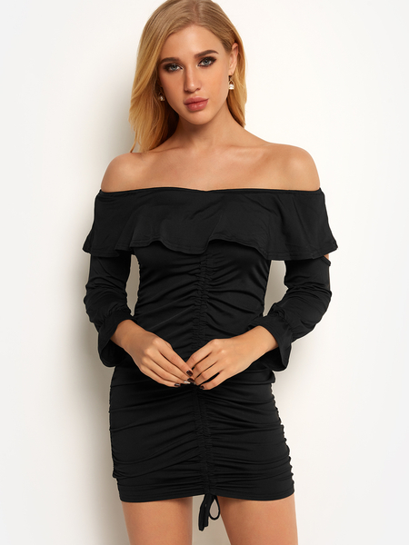 Black Backless Design Off Shoulder Pleated Cut Out Details Long Sleeves Dress