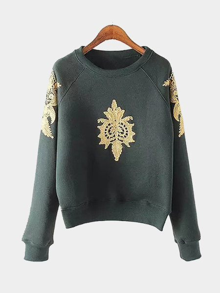 Invisible green Pullover Gold Color Embroidery Pattern Sweatshirt