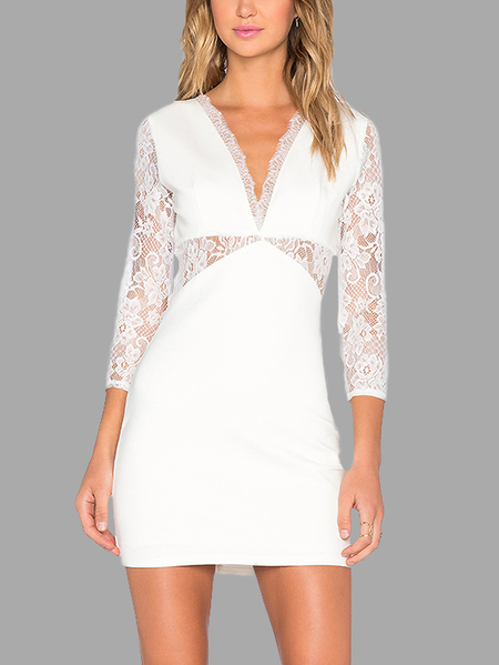 White Crochet Lace Stitching Open Back Dress