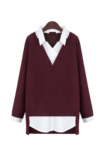 Burgundy Plus Size Hemd In Pullover Top