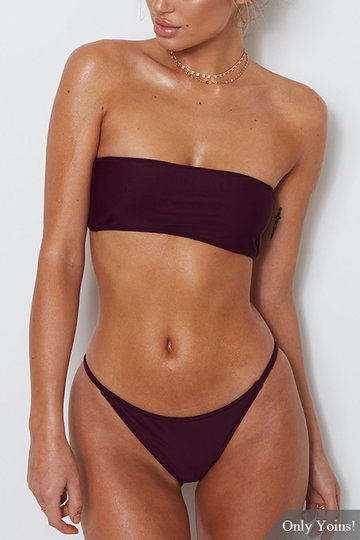 Burgundy Sexy Off Shoulder Bodycon Swimwear