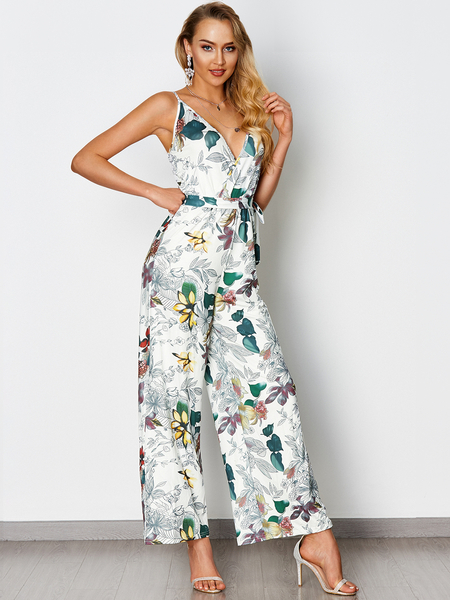 White Self-tie Design Random Floral Print V-neck Jumpsuit