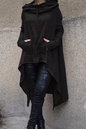 Black Hoodie Sweatshirt with Irregular Hem