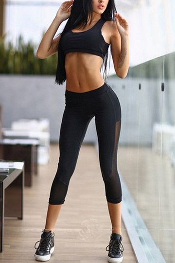 Active Mesh Tracksuit in Black