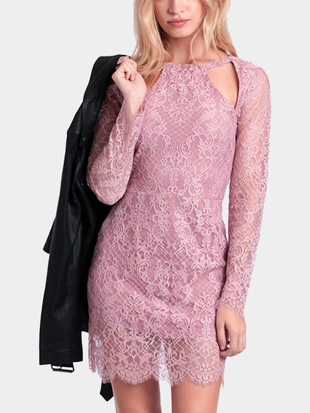 Long Sleeves Lace Dress with Cut Out Detail