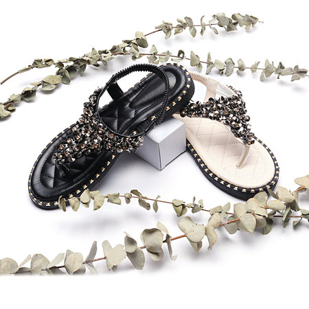 Black Jewelry Embellished Flat Sandals