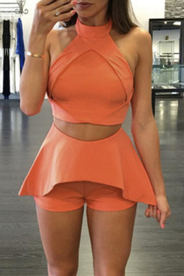 Orange Crop Top & Shorts Gym Outfits