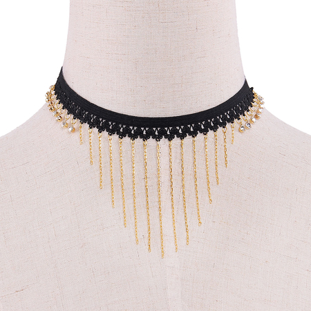 Tassels Pendant Stretch Choker Necklace