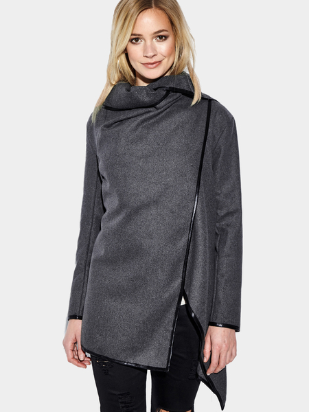 Grey High Neck Front Wrapped Trench Coat