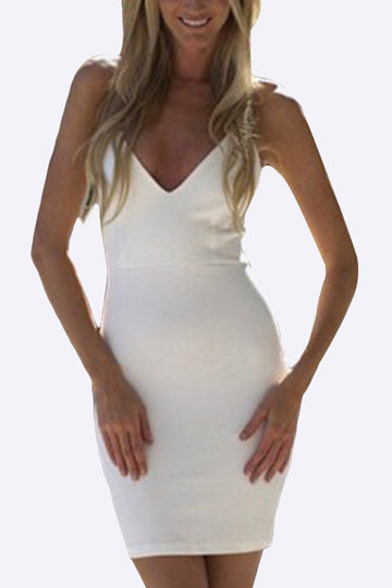 White Halter V-neck Strappy design Mini Dress