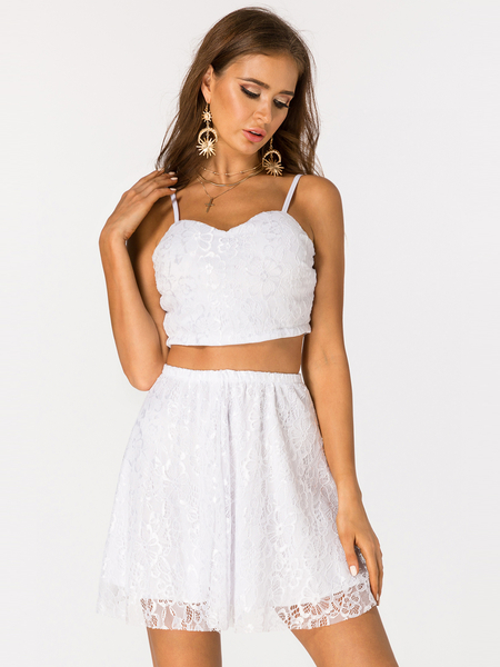 White Zip Back Lace Detail Sleeveless Two Piece Outfits