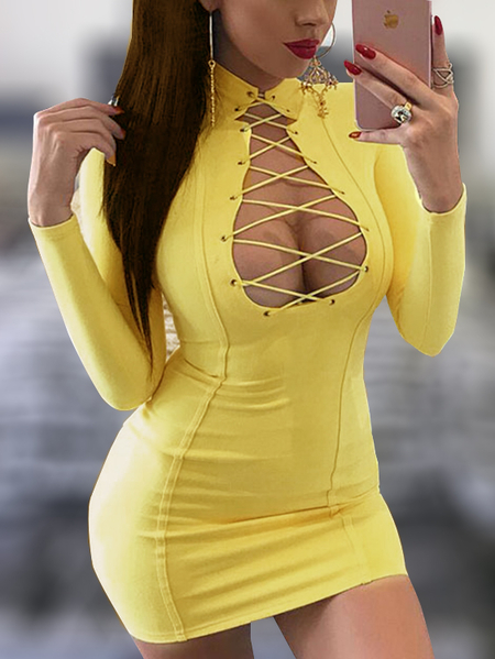 Yellow Crisscross Front Deep V-neck Long Sleeves Bodycon Suede Dress