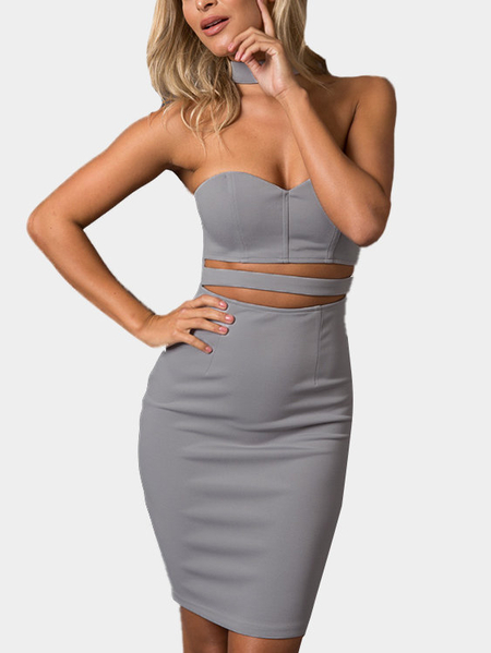 Halter Cutout Zipper Closure Bodycon Party Dress