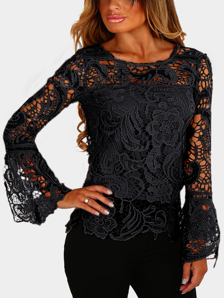 Black See-through Lace Details Round Neck Mangas longas Topo