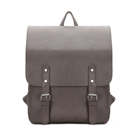 Coffee Leather-look Flap Front Backpack with Zip Buckle