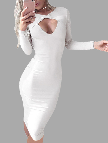 White Crew neck Hollow Bodycon Dress