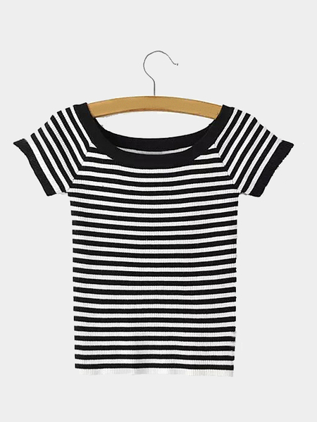 Black Contrast Stripe Pattern Off-shoulder Cropped Top