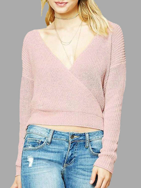 Pink Sexy Cut Out & Cross Design Deep V neck Sweaters