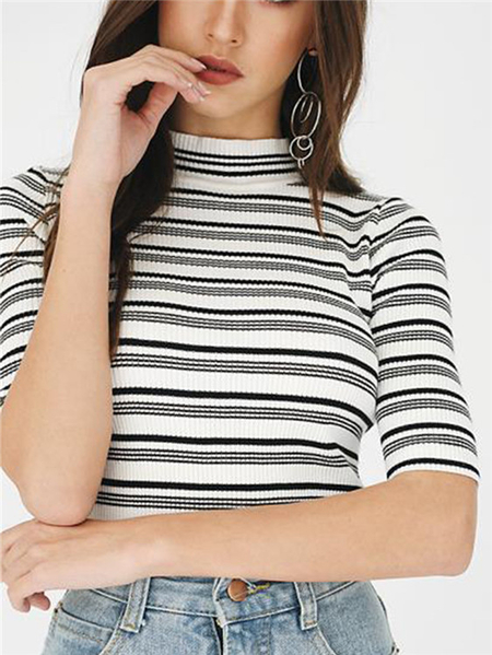 Stripe Knitting High Neck Half sleeves T-Shirt