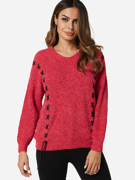 Red Lace-up Design V-neck Long Sleeves Sweater