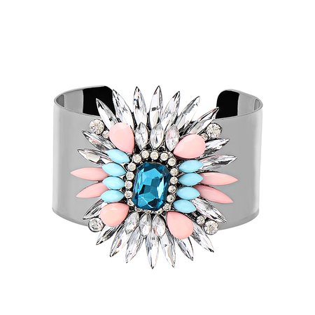 Multicolor Diamond Embellishment Cuff Bracelet