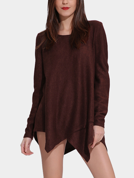 Coffee Round Neck Irregular Hem Sweater Dress