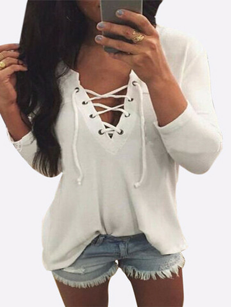 V Neck Lace Up Front Loose T-shirt Em Branco