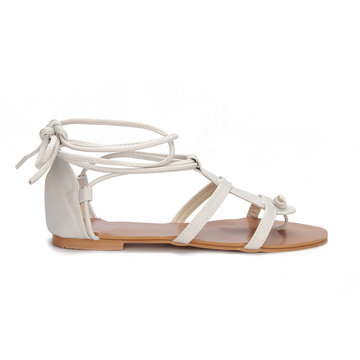 Light Grey Leather Look Lace-up Gladiator Flat Sandals