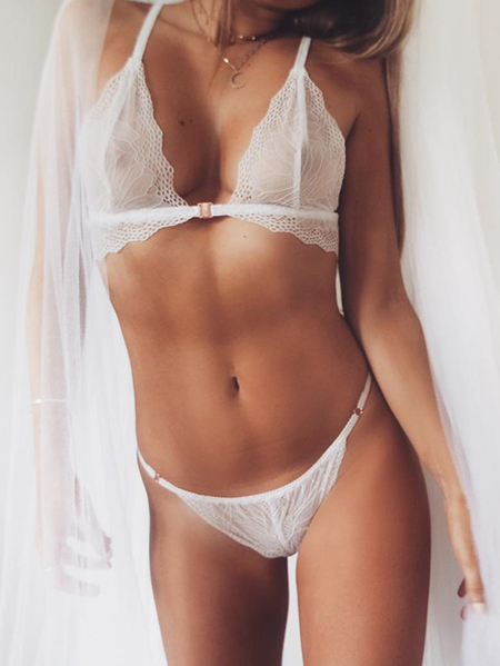White Delicate Lace See-through Lingerie Sets