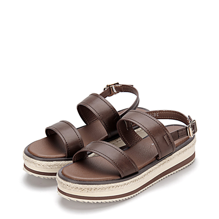 Brown Leather Look Double Straps Pin Buckle Closure Platform Sandals