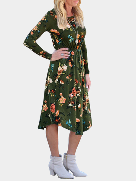 Army Green Random Floral Print Long Sleeves Midi Dress