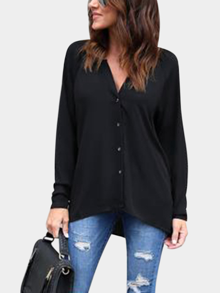 Black Plain Classic Collar Long Sleeves Shirt
