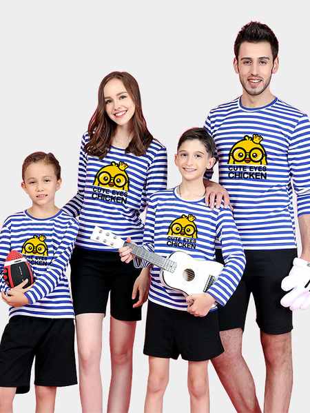 Black Round Neck Stripe Pattern Family Matching T-shirts