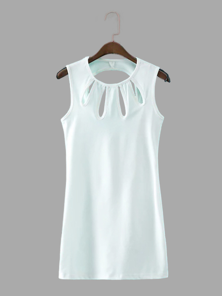 White Sleeveless Mini Dress with Cut Out Detail