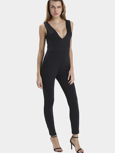 Black Sexy V-neck Strap Front Design Sleeveless Jumpsuit