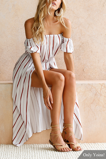 Colour Stripe Print Off-The-Shoulder Playsuit