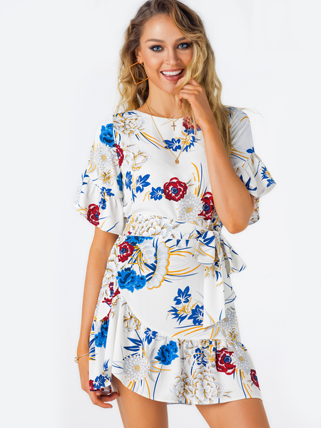 White Random Floral Print Mini Dress With Half Flared Sleeves
