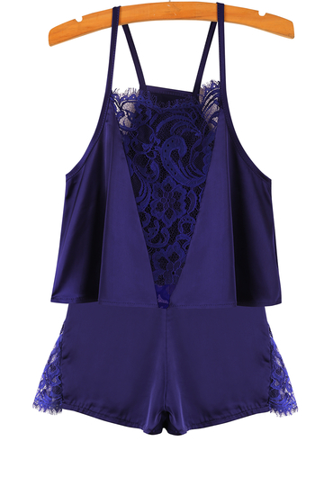 Blue Silk Stitching Lace Shorts Co-Ord Set