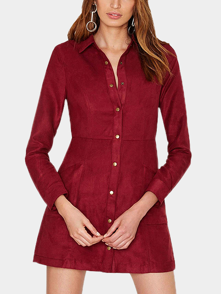 Suede Button Up Shirt Dress