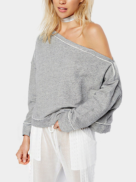 Grey One Shoulder Loose Sweatshirt