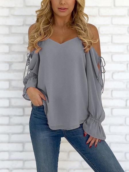 Grey V-neck Cold Shoulder Lace-up Sheer Chiffon Blouse