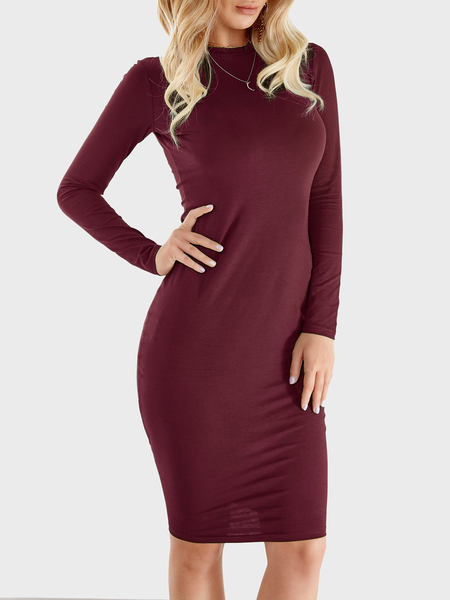 Burgundy Round Neck Long Sleeve Midi Dress