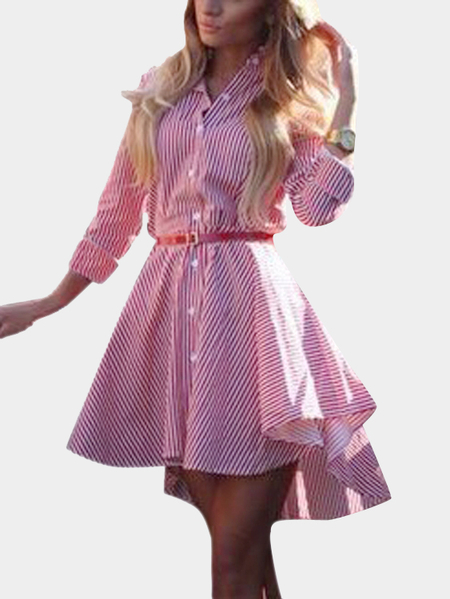 Pink Striped Single Breasted Shirt Dress with Self-tie Waist